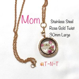 Jewelry - Mom Stainless Steel Rose Gold Twist Locket